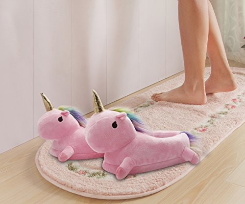 TIAQUE Womens Unicorn Slipper Winter Warm Home Shoes Cartoon Animal Plush Indoor Boots Onesize Pink