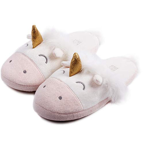 Unicorn Animal Fleece Slippers | Indoor Outdoor Home Slippers | Cozy Plush Memory Foam