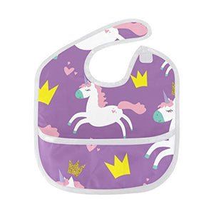 Girls Purple Unicorn Wipe-able Bib