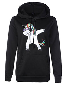 Stephaee Women's Cute Unicorn Print Hoodie Sweatshirt Casual Pullover Hooded Jumper Top Black S