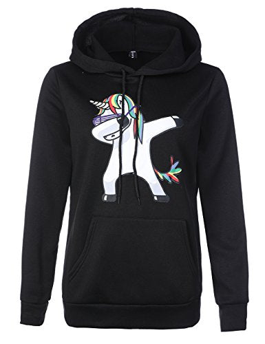 unicorn hoody womens black and white