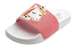 Unicorn glitter rose gold pink sliders girls