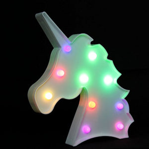 Unicorn LED Light Marquee Night Lights Lamp with Multi Color Change for Kids Home Decoration Party Bed Room Battery Operated by NUUR DESIGNS