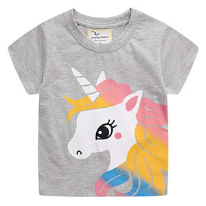 Cute Unicorn Short Sleeve Cotton T-Shirts | For Girls