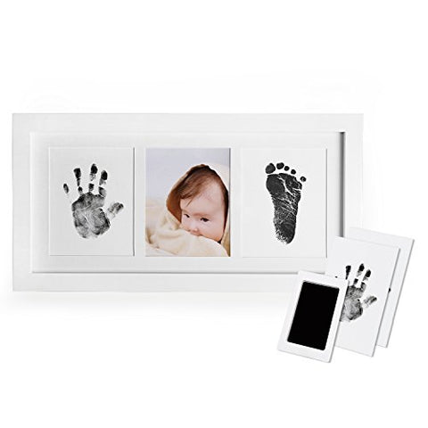 Baby Handprint and Footprint Photo Frame Kit for Newborn Boys and Girls, Baby Shower Gift