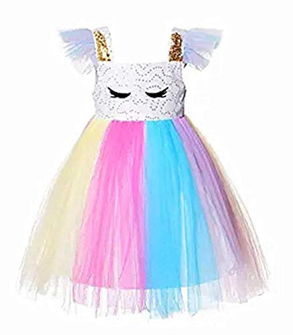 Toddler Girls Unicorn Birthday Fancy Party Dress