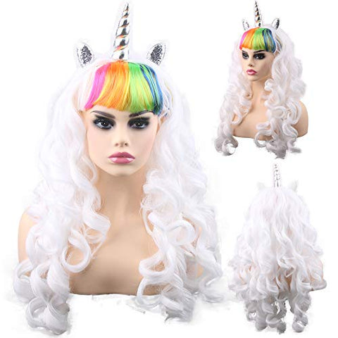 Colourful Unicorn Wig For Women | Fancy Dress | White, Rainbow Fringe
