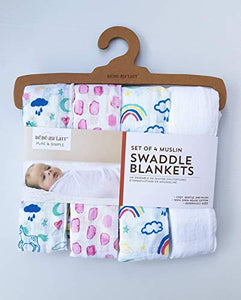 Unicorn Set of 4 Muslin Swaddle Blankets By Bebe au Lait, Baby Shower Gift Pack