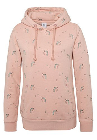 Sublevel Women's All-Over Unicorn Print Hoodie | Hooded Unicorn Sweatshirt, Loungewear Light-Rose S