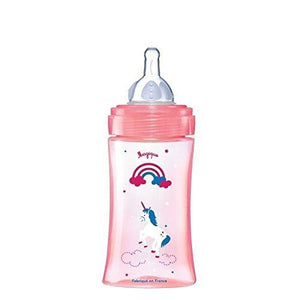 baby unicorn rainbow bottle feeding pink