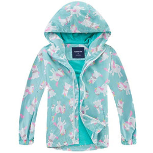Kids Floral Unicorn Fleece Lined Jacket | Waterproof Windproof Raincoat With Hood