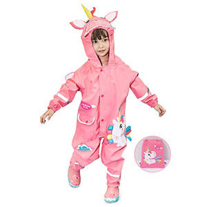 Cute Unicorn Waterproof Puddle Suit | Pink | Reflective Tape