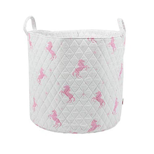Quilted White and Pink Unicorn Storage Box