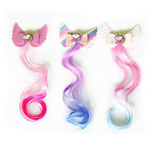 Unicorn Hair Clips | Coloured Hair Extensions Ponytails | Gift Idea