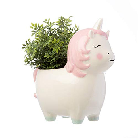 Sass & Belle Rainbow Unicorn Planter With Plant