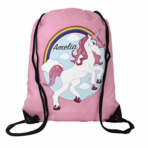 Personalised Kids Unicorn Drawstring Swimming, School, PE Bag For Girls