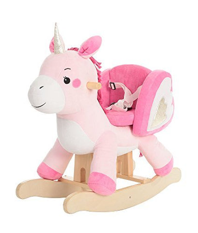 Labebe Unicorn Baby Rocking Plush Horse Rocking Horse- Pink