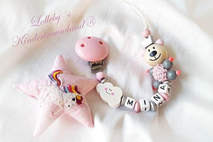 Girl's Unique Dummy Chain Happy Teddy - Baby Shower Gift - (rosé, white, Unicorn)