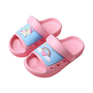 Baby Girls Unicorn Slider Sandals Kids Summer Beach Slipper Toddler Anti-Slip Open Toe Adjustable Bathroom Shoes Size 5.5/6 UK Child (CN 22-23, Pink Blue Unicorn)