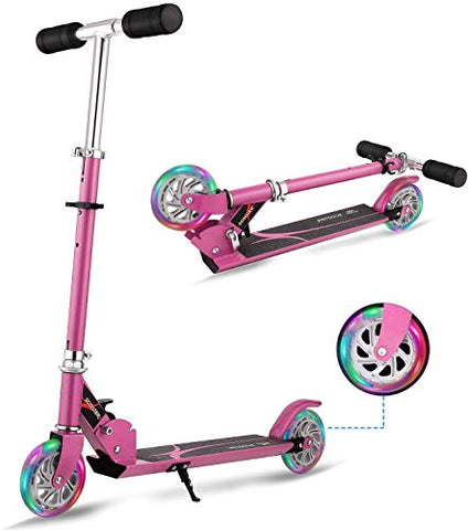 Pink Scooter For Kids | 3 Years + | LED Lights | Adjustable Height