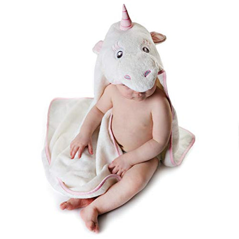 Unicorn Hooded Baby Towel, Natural Cotton, Baby Shower Gift Idea