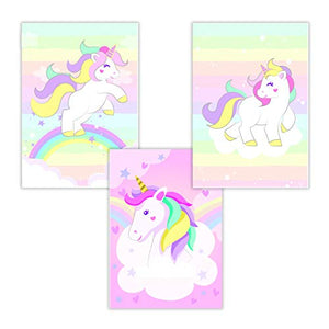 Set of 3 Unicorn Pictures | Wall Art | Nursery, Kids Room | A4