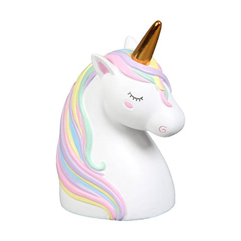 Unicorn head money box gold horn
