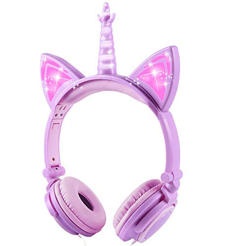 Unicorn Kids Headphones | Lavender Purple | LED Glowing Ears