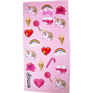 Personalised Pink Emoji Beach Towel | Unicorn | Rainbows | Ice Cream