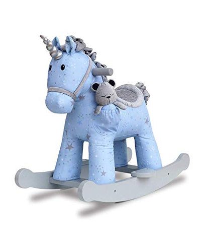 Moonbeam & Rae Rocking Unicorn- With Teddy, Toddlers, Blue, Grey with Stars
