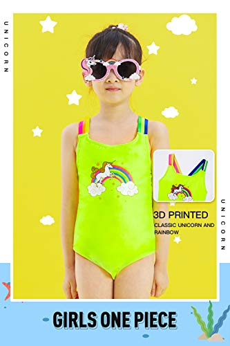 IKALI Girls Unicorn Swimming Costume One Piece, Fluorescent
