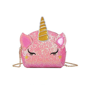 Pink Glitter Cute Unicorn Shoulder Bag Handbag for Girls Teens Women