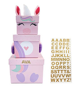 Kids Stackable Unicorn Christmas Boxes | With Sheet of Gold A-Z Letters To Personalise | Christmas Eve Box