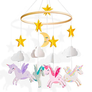 Unicorn, Stars, Clouds and Moon Felt Baby Cot Mobiles, Baby Mobile -Decoration Baby Shower Gift, Pink, Purple, Blue