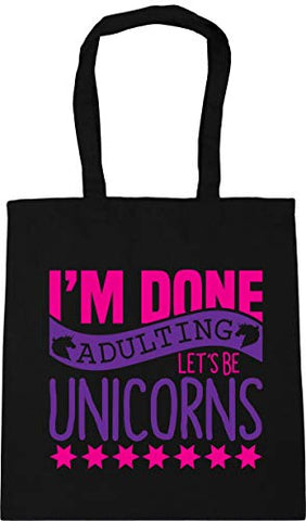 Let's Be Unicorns Quote Tote Shopping/Gym/Beach Bag | Black