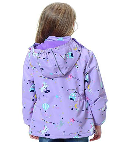 Girls Unicorn Waterproof Jacket Purple