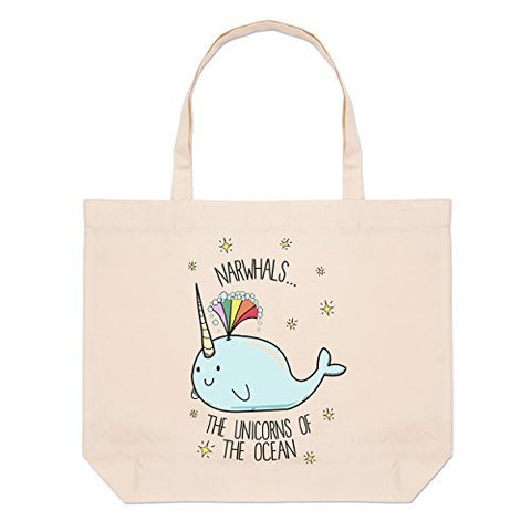 Narwhals The Unicorns Of The Ocean Large Beach Tote Bag