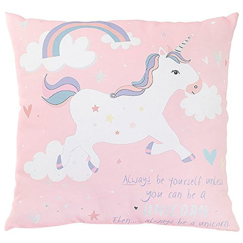 Beautiful unicorn cushion for girls room, with pastels and pinks. 40x40cm.