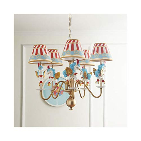 Unicorn Carousel Chandelier, Children's Cartoon Unicorn 5 Eye Lights with Stripy Shades