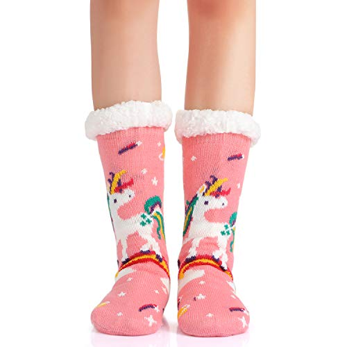 Cute Pink Unicorn Slipper Socks For Girls