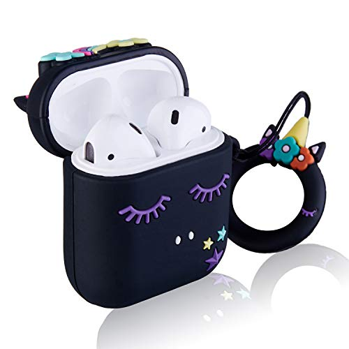 Floral Unicorn Safety Airpod Case | Black