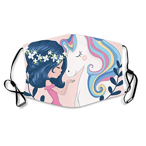 Youturnnow Unicorn Girl Face Protector with Ear Loops Washable Reusable Dust Cover for Dust -  White -  One Size