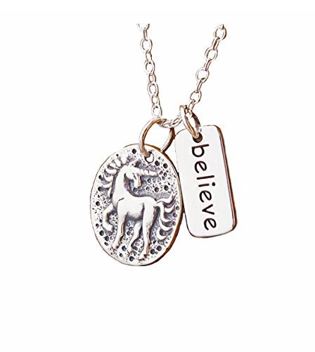 unicorn charm necklace with motivation quote