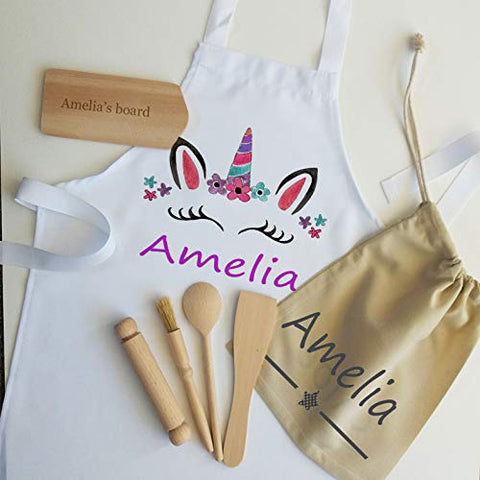 Kids Unicorn Personalised Apron & Baking Set | Unicorn Gifts