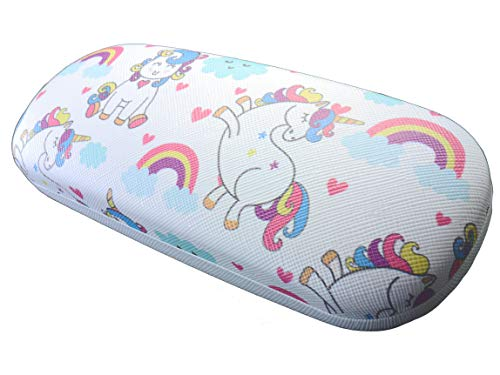 Unicorn rainbow hearts clouds hard glasses case