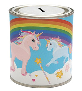 Kids Unicorn Rainbow Money Savings Tin Box Can Jar Saver Cash