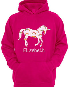 Personalised Rainbow Unicorn Hoodie - Girls
