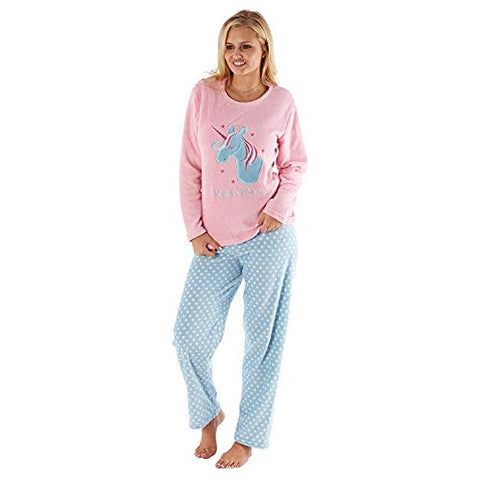 Womens Fleece Unicorn Pyjamas Pink Blue