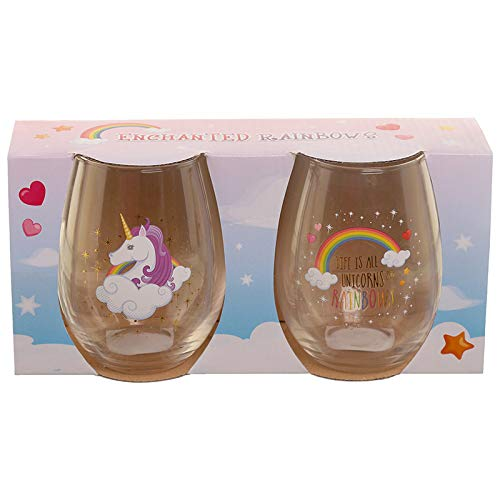 Number 1 present gift. Set of 2 Enchanted Rainbow Unicorn Glass Tumblers. Fun and light hearted glasses