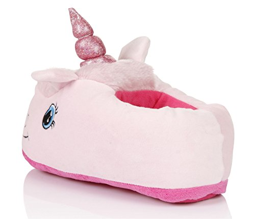 Martildo Fashion, Ladies 3D Novelty Fun Soft Warm Cosy Unicorn Gift Slippers, Pink, Large (UK 7-8)